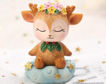 Sleeping fawn silicone mold cute moulds kawaii molds baby deer mold soap mold candle mold forest mould