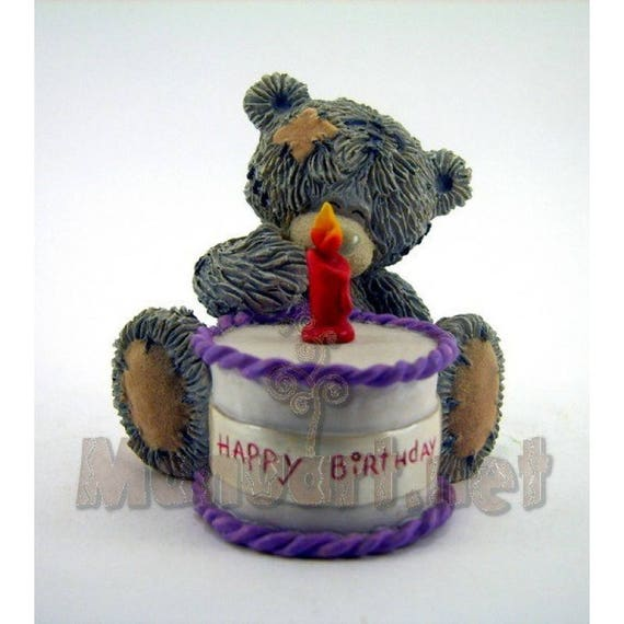 3d Silicone Mold Teddy Bear With A Birthday Cake Mould Etsy