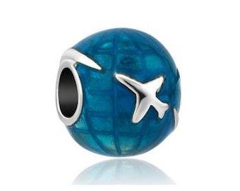 Blue World Bead, Travel Charm, Large Hole Bead, European Bead, Charm Bead, Charm Bracelet, European Charm, Big Hole Bead