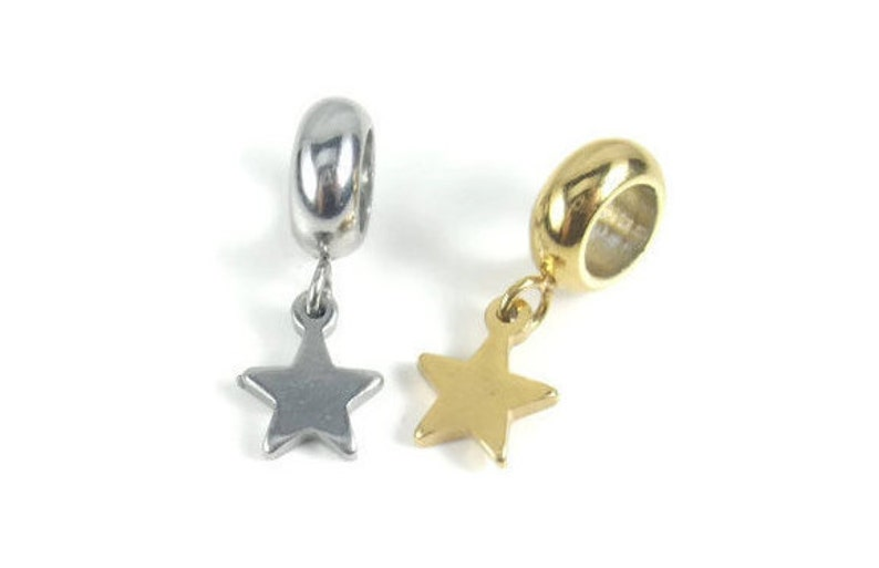 Leather Charm Charm Bead Silver Stainless Steel Charm Star Charm Bead Charm Bracelet Bead Bracelet Charm Gold Large Hole Bead