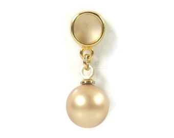 Gold Pearl Charm, Sterling Silver Charm, Pearl Dangle Bead, Large Hole Charm, European Bead, Charm Bead, Charm Bracelet Bead