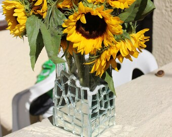Mirror Mosaic Vase, Centerpiece Vase, Wedding Vase, Broken Mirror Vase