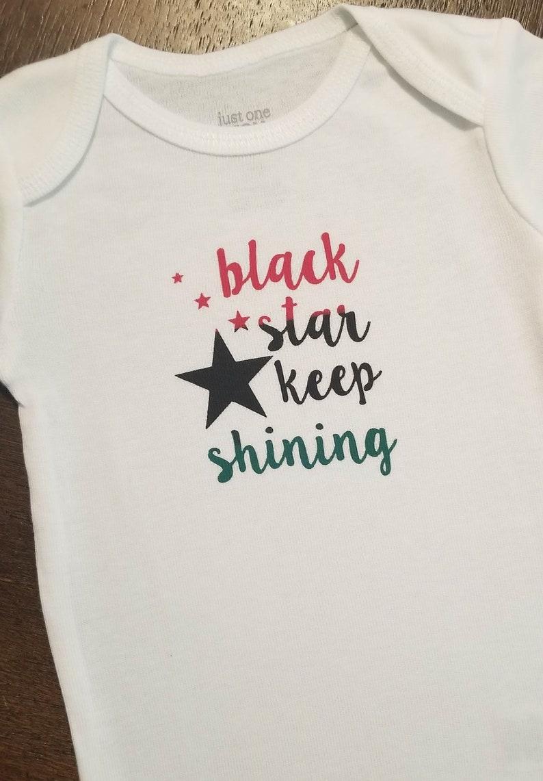 4ce7806da7ef Hip Hop Baby Onesie® Bodysuit Black Star Keep Shining Rap Pan | Etsy