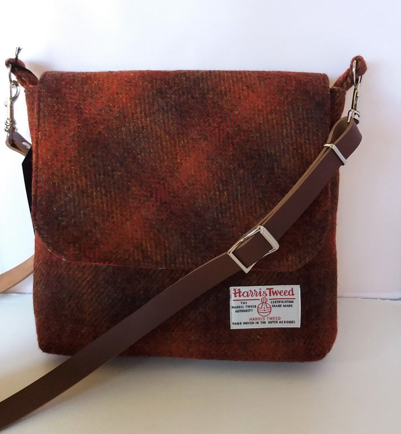 119ab08ae9 Harris Tweed small Messenger Bag   Shoulder Bag   Brown and