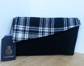 Black Harris Tweed Clutch Evening Bag / Handmade