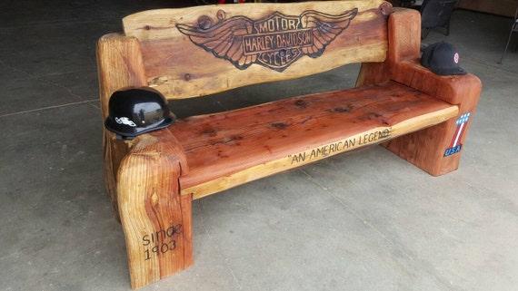 Tremendous Items Similar To Carved Redwood Harley Davidson Bench On Etsy Uwap Interior Chair Design Uwaporg