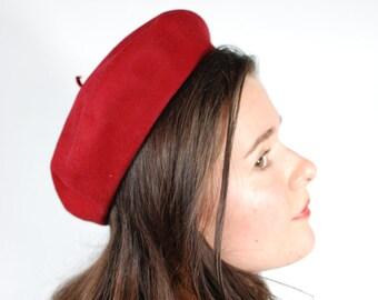 1940's Lipstick Red Wool Beret Hat