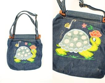 86de38efbbba 1960 s Denim Turtle   Butterfly Wood Dowel Handbag Purse