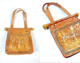 49108b69ce72 1960 s Patent Leather Embroidered India Handbag Purse