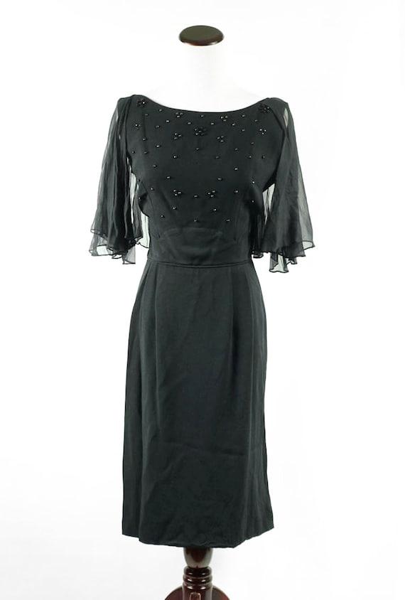 1960's Black Beaded Flutter Sleeve Party Dress - image 2