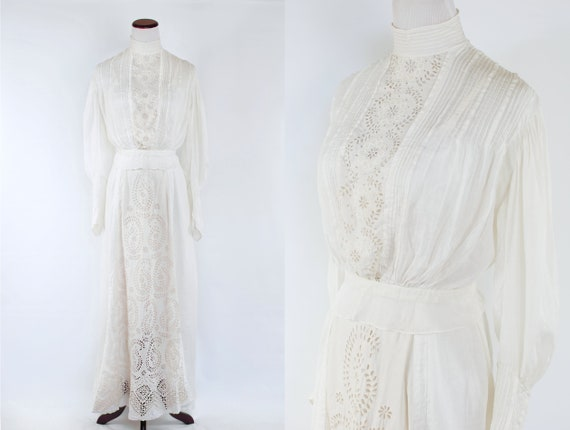 1910's Edwardian White Linen Lace Blouse and Skirt
