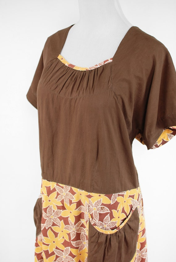 1930's Brown & Yellow Floral Feedsack Cotton Hous… - image 5