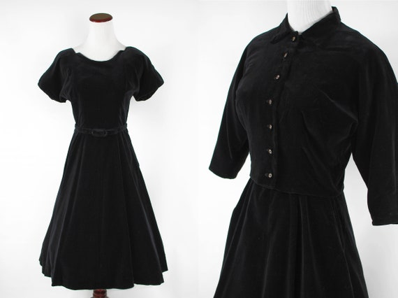 1950's Black Velvet Rhinestone Dress & Jacket Set