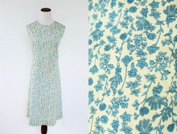 1960's Blue Floral Cotton Sleeveless Shift Dress