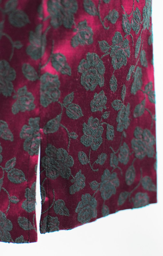 1990's Red Satin Rose Brocade Mini Slip Dress - image 6