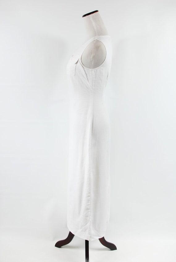 1990's White Linen Sleeveless Pocket Maxi Dress - image 3
