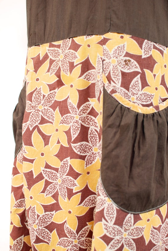 1930's Brown & Yellow Floral Feedsack Cotton Hous… - image 6