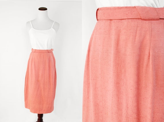 1950's Pink Belted Pencil Skirt