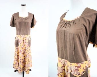 1930's Brown & Yellow Floral Cotton House Dress