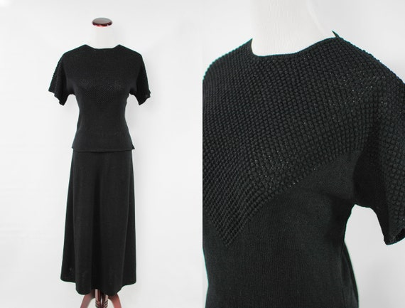 1940's Black Rayon Knit Blouse & Skirt Set
