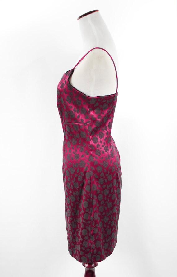1990's Red Satin Rose Brocade Mini Slip Dress - image 3