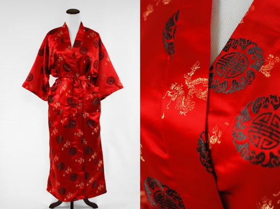 NWT 1970's Chinese Dragon Red Rayon Brocade Unisex