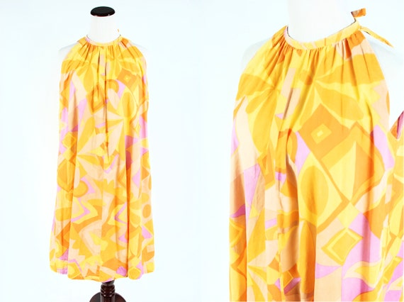 1960's Mod Bright Abstract-print Cotton Sleeveless
