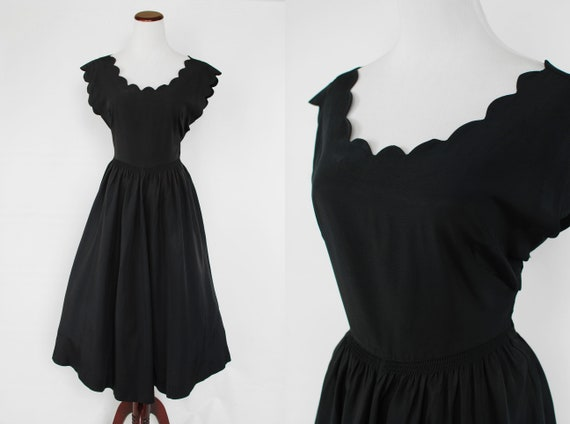 1950's Black Scalloped Short-sleeve Evening Dress