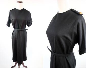 1960's Black Sheath Short-sleeve Belted Brass Button Dress