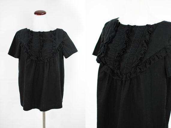 1960's Black Cotton Ruffle Yoke Swing Blouse