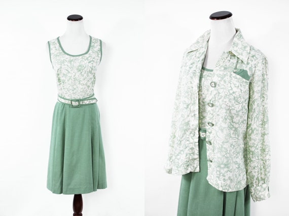 1960's Sage Green Floral Belted Dress & Button-up