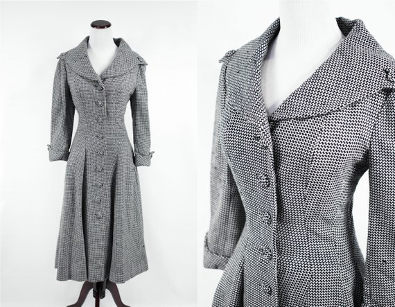 1950's 'Don Loper' Couture Houndstooth Wool Swing