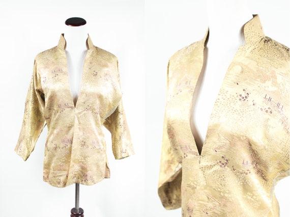 1950's Champagne Silk Brocade Mandarin Collar Chin
