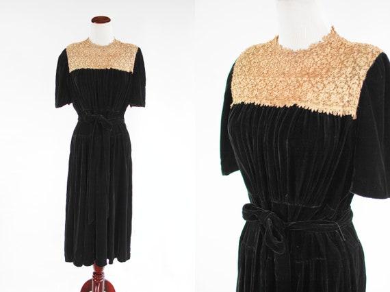 1940's Black Silk Velvet Pearl & Rhinestone Lace B