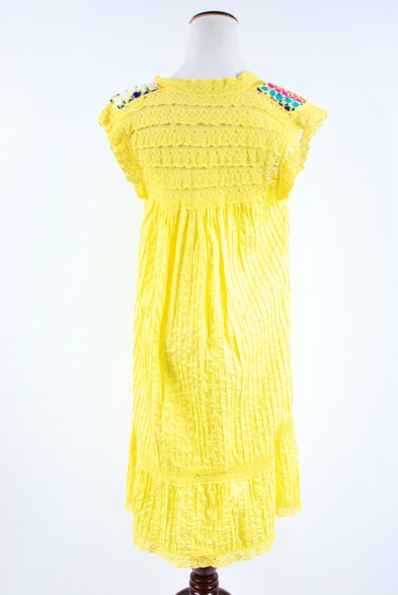 1970's Bright Yellow Cotton Floral Embroidered Pi… - image 4