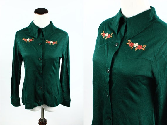 1970's Forest Green Knit Floral Embroidered Long-s