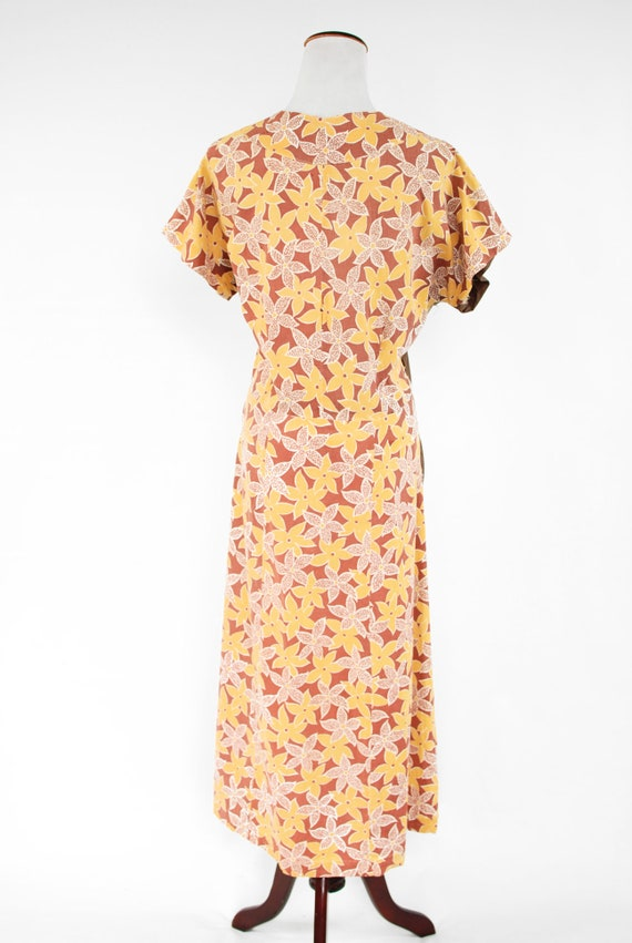 1930's Brown & Yellow Floral Feedsack Cotton Hous… - image 4