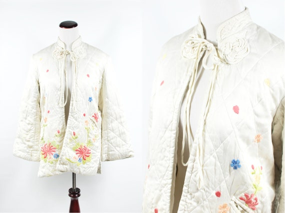 1940's Bone Satin Floral Embroidered Asian Quilted
