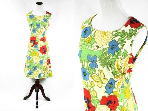1960's Poppy & Butterfly Cotton Sleeveless Shift D