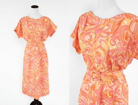 1960's Sherbert Floral Swirl Short-sleeve Belted D