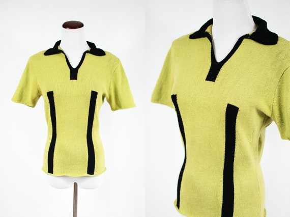 1940's Chartreuse & Black Striped Knit Shoulder Pa