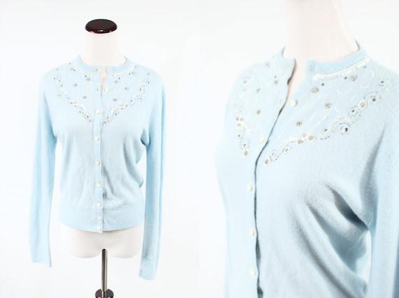 1950's Baby Blue Acrylic Beaded Knit Cardigan Swea