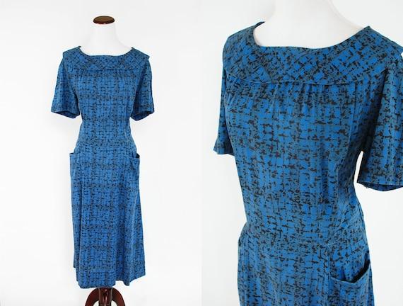 1960's Cobalt Blue Cotton Short-sleeve Dress