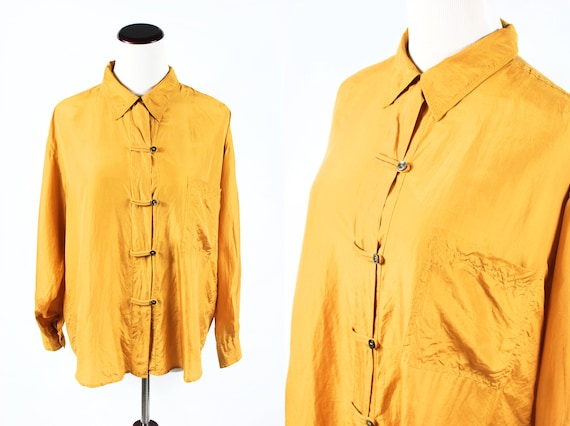 1980's Mustard Yellow Silk Long-sleeve Button Loop