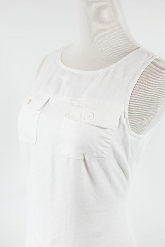 1990's White Linen Sleeveless Pocket Maxi Dress - image 5
