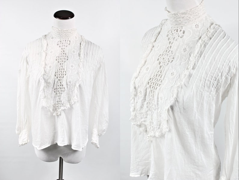 1910/'s Edwardian White Cotton Floral Embroidered Lace Long-sleeve Blouse