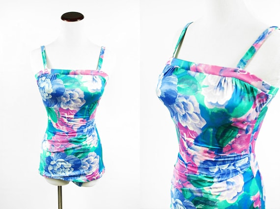 1980's 'Roxanne' Watercolor Floral Ruched One-piec