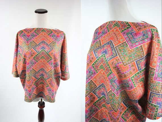 1970's Paisley Cropped Square Blouse