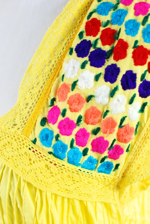 1970's Bright Yellow Cotton Floral Embroidered Pi… - image 6