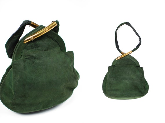 1940's Hunter Green Suede Gold Hardware Wristlet P